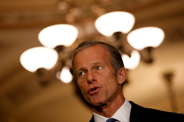 Senator John Thune (R-SD) speaks to reporters after the weekly Senate policy lunches in the U.S. Capitol in Washington