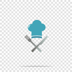 Chef hat with cross knife and fork vector icon on transparent background. Cap chef cooking.