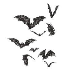 Vector hand drawn illustration with flock of bats isolated on white. Halloween symbol. Sketch for design of All Saints Day