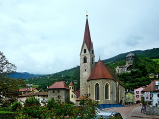Italy-view on the castle Branzoll and church