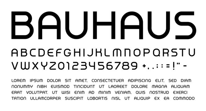 Bauhaus letters and numbers set. Rounded headline uppercase modern style vector latin alphabet. Font for events, promotions, logos, banner, monogram and poster. Typography design.