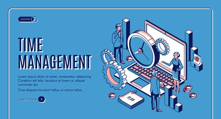 Time management landing page. Laptop with office gears and watches, task prioritizing, organization for effective productivity. Optimization planning time isometric vector illustration line art banner