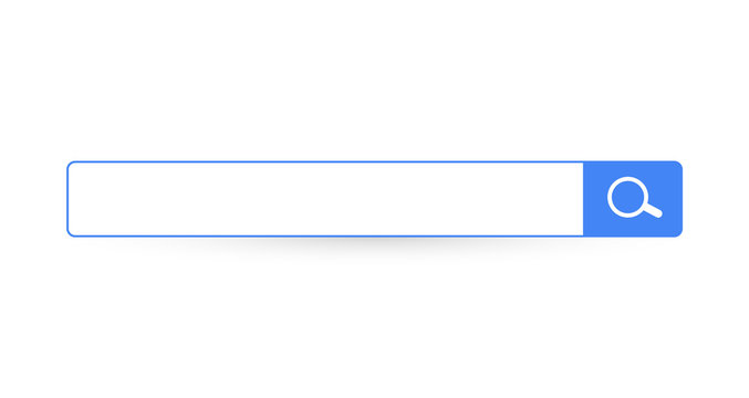 Search bar. Horizontal linear border with text input field, magnifying glass icon in frame. Simple flat searching button design for seo, networking technology, web ui, internet navigation, web browser