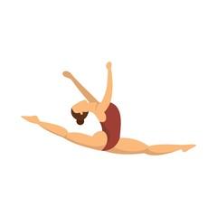 Split jump girl gymnastics icon. Flat illustration of split jump girl gymnastics vector icon for web design