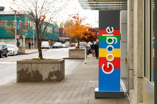 Seattle, Washington USA - October 16, 2019: General view of Google logo on office sign in Seattle's Fremont neighborhood