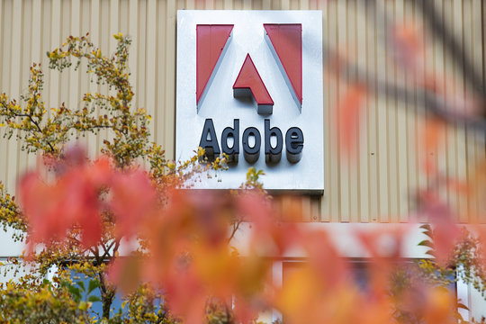 Seattle, Washington USA - October 16, 2019: General view of Adobe logo sign at Seattle's Fremont office