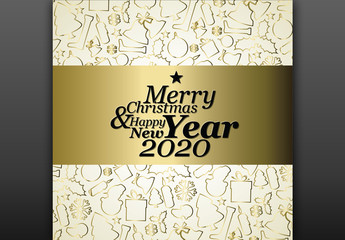 Gold Christmas Card Layout with Illustrative Elements