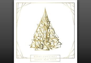 Minimalist Geometric Christmas Card Layout with Tree