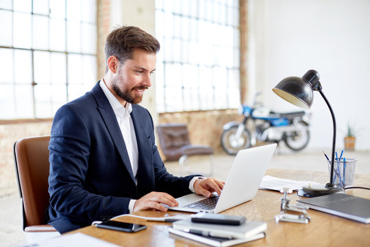 Businessman working in vintage office