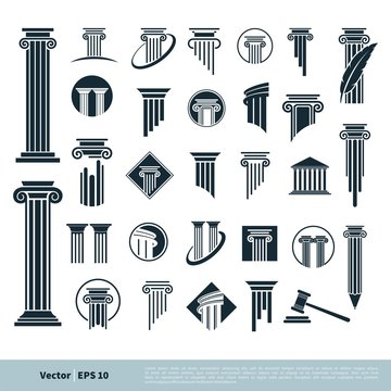 Set Column Pillar Icon for Legal, Attorney, Law Office Logo Vector Template Illustration Design. Vector EPS 10.