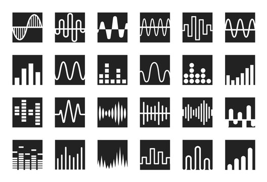 Waves icon set. Sound wave, music and radio wave curves logo template. Isolated vector emblems.