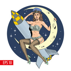 A vintage sexy woman sitting on the crescent moon with a missile or rocket. Vector illustration.