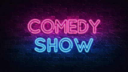 comedy show neon sign. purple and blue glow. neon text. Brick wall lit by neon lamps. Night lighting on the wall. 3d illustration. Trendy Design. light banner, bright advertisement