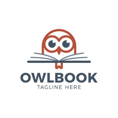 Cute Owl head with book education logo - vector illustration. Emblem design.