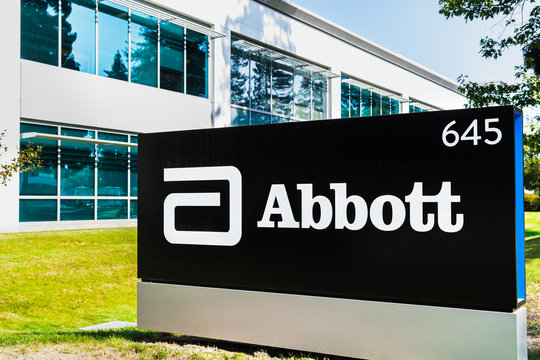 Oct 15, 2019 Sunnyvale / CA / USA - Close up of Abbott Laboratories sign at their headquarters in Silicon Valley; Abbott Laboratories is an American medical devices and health care company