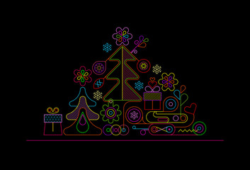 Foto op Canvas Abstractie Art Christmas Tree Neon Design
