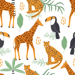 Seamless pattern with exotic animals and tropical leaves on white background. Vector illustration for printing on fabric, postcard, wrapping paper, children's book, picture. Cute baby background.