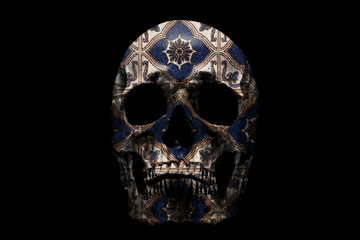 Human skull with pattern on black background. Fragment of wall, with traditional Portuguese, glazed ceramic tiles.