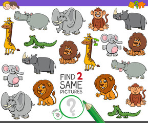 find two same wild animals game for kids