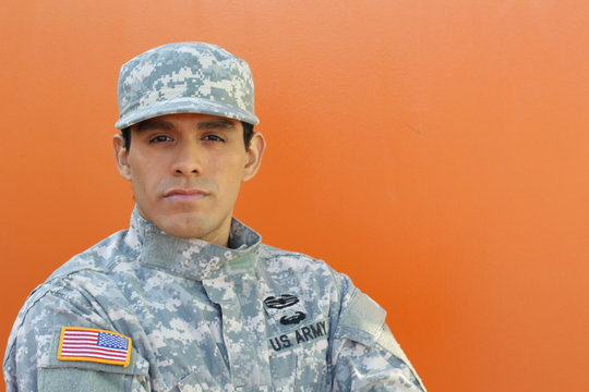 Portrait of army soldier isolated