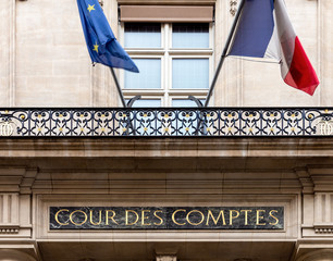 Paris, France: Cour des comptes (Court of Audit) on Rue Cambon in Paris. It is a French administrative court in charge of conducting financial audits of most public institutions