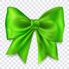 Beautiful big bow made of green ribbon with shadow on transparent background