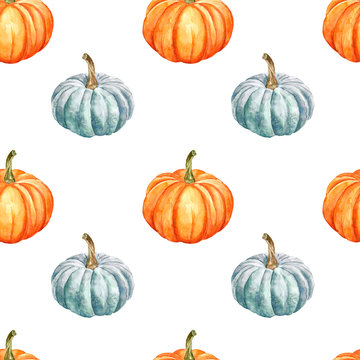 Pumpkins seamless pattern. Simple design. hand painted autumn veggies on white background, isolated. Orange and blue gourds. Best for fall themed design, Thanksgiving cards, halloween wallpaper.