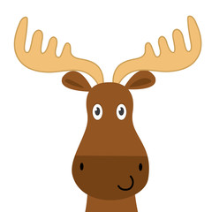 Cute moose face design, cute animal character