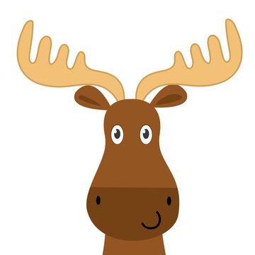 Cute moose face design, cute animal character