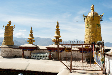 The patio roof of the Deprung Monastary provides a panoramic view of the Himalayan mountains in Lhasa, Tibet.