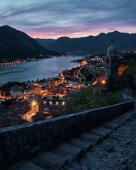Papiers peints Saumon Kotor Montenegro cityscape at night