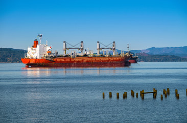 Tankers anchored in Astoria bay.