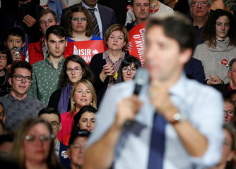Liberal leader and Canadian Prime Minister Justin Trudeau campaigns for the upcoming election at the Musee de la nature et des sciences, in Sherbrooke