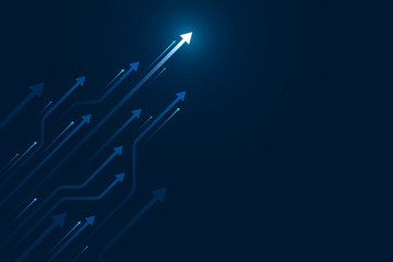 Up arrows circuit style on blue background illustration, copy space composition, digital growth concept.