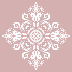 Elegant vintage white ornament in classic style. Abstract traditional pattern with oriental elements. Classic vintage pattern