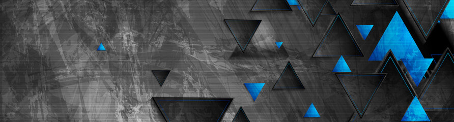 Tech blue triangles on dark grey grunge header banner. Vector abstract corporate background