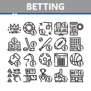 Betting And Gambling Collection Icons Set Vector Thin Line. Basketball And Baseball, Hockey And Boxing, Horse Racing And Card Game Betting Concept Linear Pictograms. Monochrome Contour Illustrations