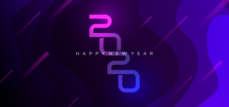 happy new year 2020 modern futuristic design