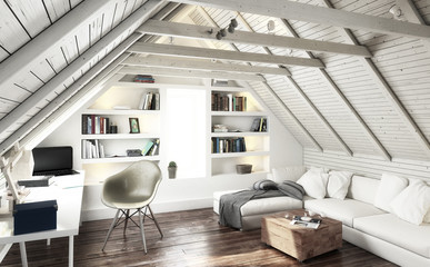 Attic Studio (black and white) - 3d visualization