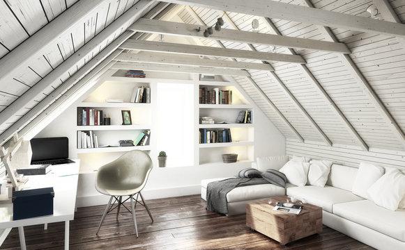 Attic Studio (black and white) - 3d visualization