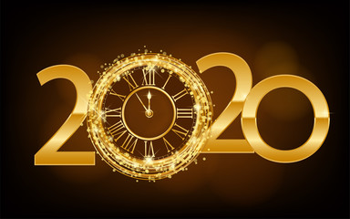 Happy New Year 2019 - New Year Shining background with gold clock and glitter ilustration