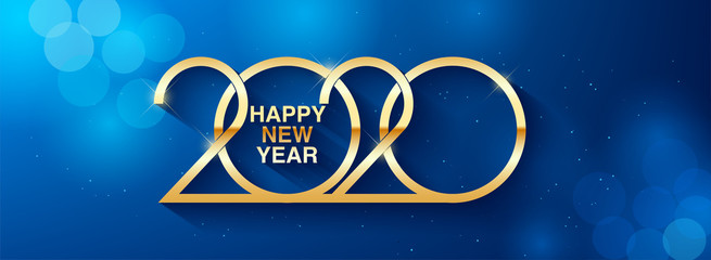 Happy New Year 2020 text design. Greeting illustration with golden numbers. Merry christmas and happy new year 2020 greeting card and poster design.