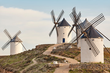 Traditional antique windmills in Spain. Toledo