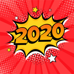 2020 New Year comic book style postcard or greeting card element. Vector illustration in pop art retro comic style.