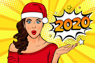 2020 New Year comic book style postcard or greeting card with WOW sexy young girl. Vector Illustration in pop art retro comic style.