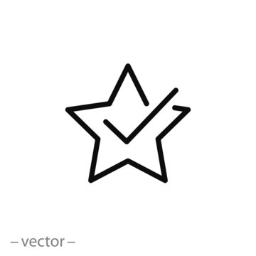 value favorite icon, outline review star, add best valuation, good evaluation solution, thin line web symbol on white background - editable stroke vector illustration