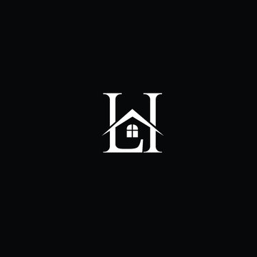 LH initials real estate logo icon vector