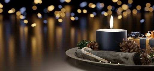 Fotomurales - Christmas candle background