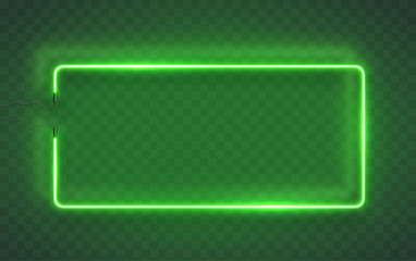 Neon rectangle lamp wall sign isolated on transparent background. Vector green power glowing bulb banner, light line frame for your design.