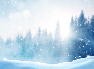 Wall Mural - Beautiful winter landscape with snow covered trees.Merry Christmas and happy New Year greeting background with copy-space.